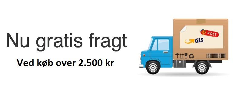 Gratis fragt ved køb over 2.500 til levering i Danmark